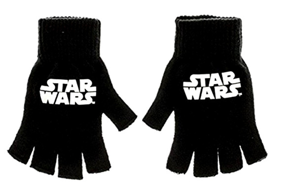 Star Wars Black Fingerless Knit Gloves Licensed Classic Logo Adult One Size