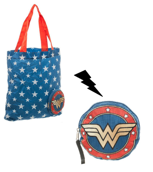 DC Comics Wonder Woman Packable Tote Bag Shopping Grocery WW Logo Stars