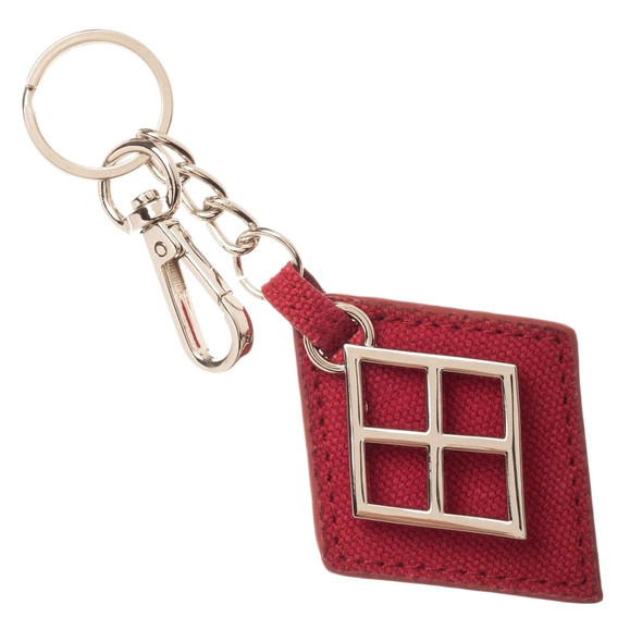 DC Comics Harley Quinn Canvas / Metal Keychain Keyring Classic Red Diamond Shape