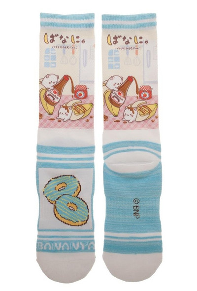 Bananya Sublimated Crew Socks Adult Cat Who Lives In A Banana Mens Anime 10-13