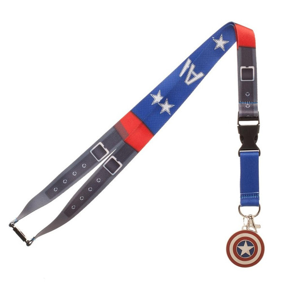 Marvel Captain America Suit Up Lanyard Necklace Detachable ID Holder Keychain