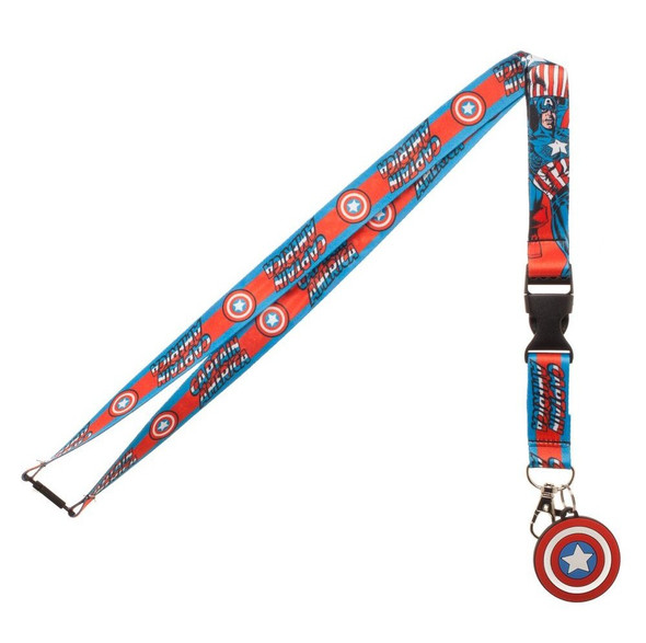 Marvel Comics Captain America Lanyard Necklace Detachable ID Holder Keychain