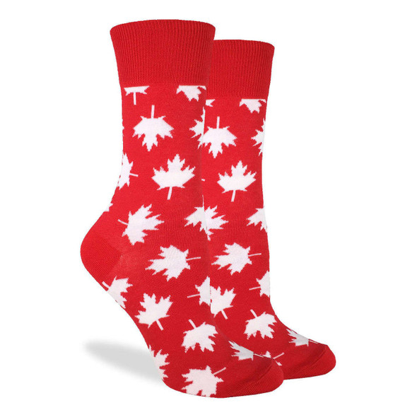 Good Luck Sock Canadian Maple Leaf Crew Socks Adult Shoe Size 5-9 Canada Day Red