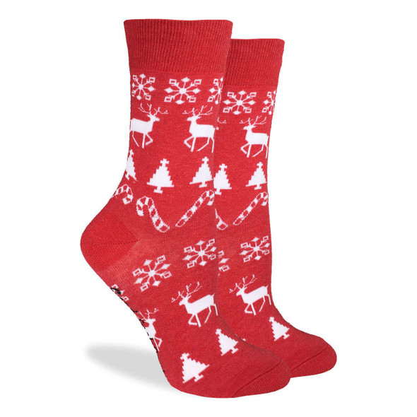 Good Luck Sock Christmas Holiday Crew Socks Adult Unisex Shoe Size 5-9 Reindeer
