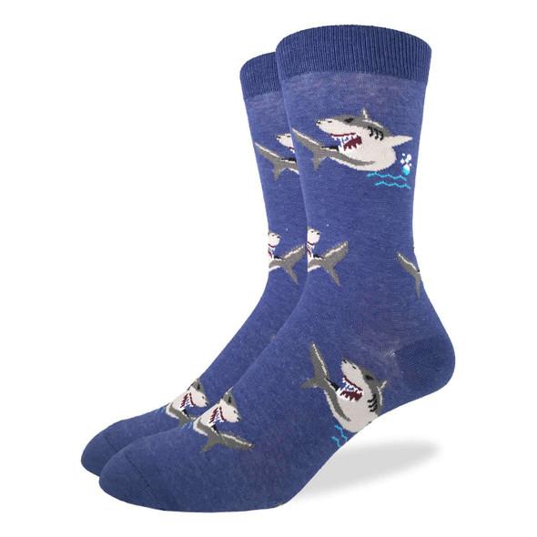 Good Luck Sock Shark Attack Crew Socks Adult Men King Shoe Size 13-17 Shark Week