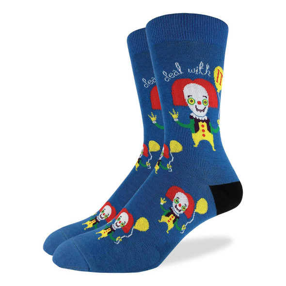 Good Luck Sock Clowning It Crew Socks Adult Unisex Shoe Size 7-12 Killer Clown