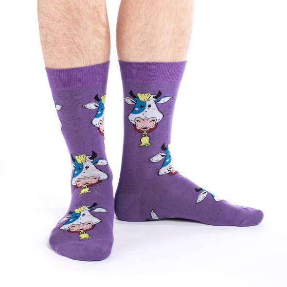 Good Luck Sock Cowbell Crew Socks Adult Shoe Size 7-12 Funny Farm Animal
