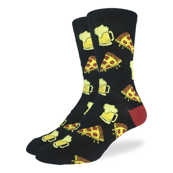 Good Luck Sock Beer and Pizza Crew Socks Adult Mens King Shoe Size 13-17