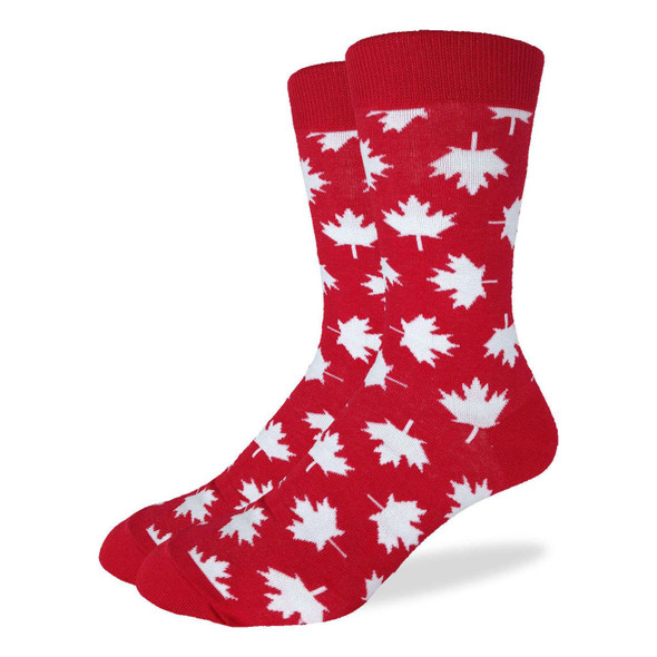 Good Luck Sock Canadian Maple Leaf Crew Socks Adult Mens King Shoe Size 13-17