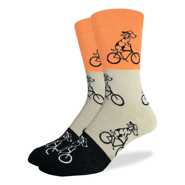 Good Luck Sock Dog Riding Bike Crew Socks Adult Mens King Shoe Size 13-17