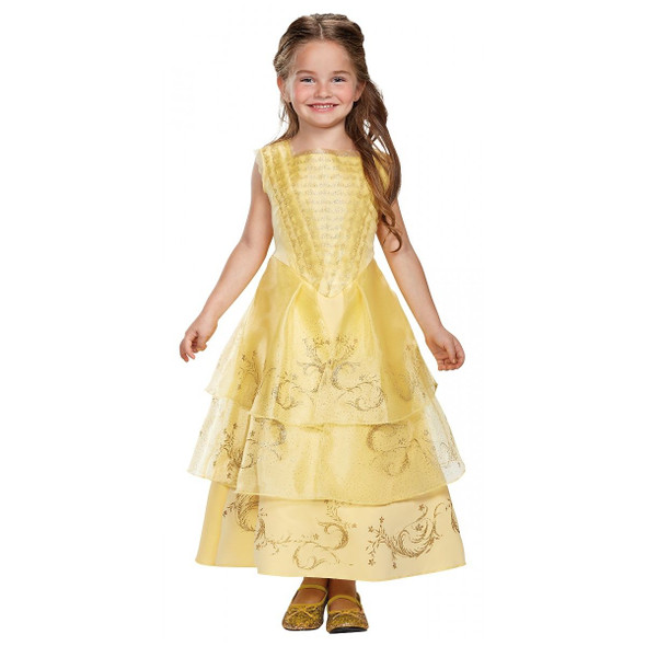 Disney Belle Ball Costume Dress Beauty N' The Beast Girls Yellow Princess Gown