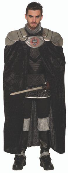 Dark Royalty King Cape Black Velvet Men's Halloween Costume Accessory OS