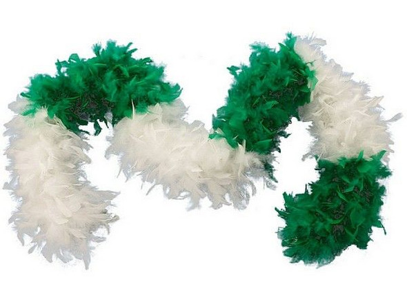 "Green White Turkey Feather Boa 55GM 6 ft 72"" Costume Accessory St. Patrick's Day"