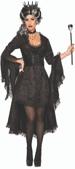 Dark Royalty Wicked Princess Costume Women's Black Gothic Fancy Dress Evil Queen