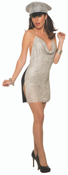 Disco Club Girl Costume Women's Sexy Silver 1970s Fever Fancy Dress XS-LG