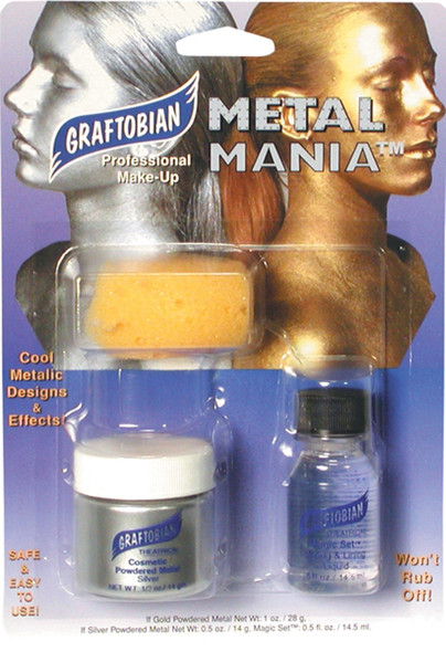 Graftobian Metal Mania Silver Metallic Professional Powder Face & Body Makeup