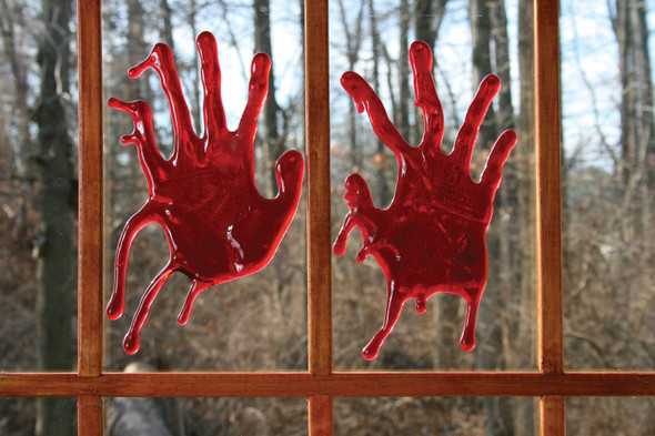 3D Bloody Red Blood Window Decor Halloween Party Decoration Hands Splats Drips