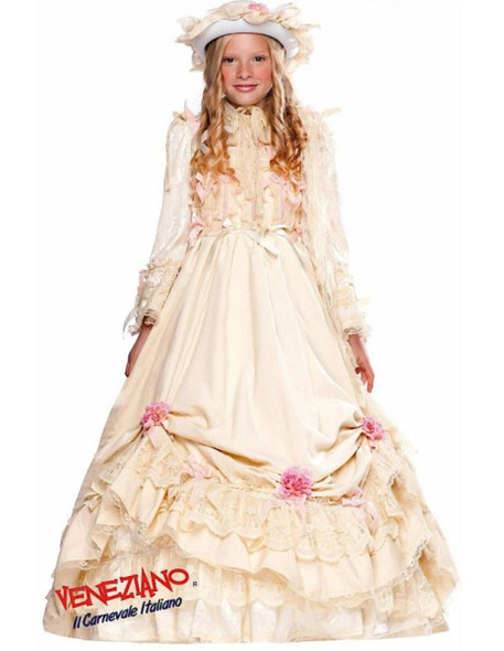 Deluxe Velvet Ivory Southern Belle Ball Gown Costume Victorian Child Girls MD 8