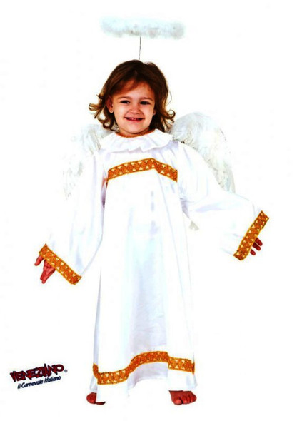 Deluxe White Angel Child Kids Gown Halo & Wings Costume Christmas Manger Size 7