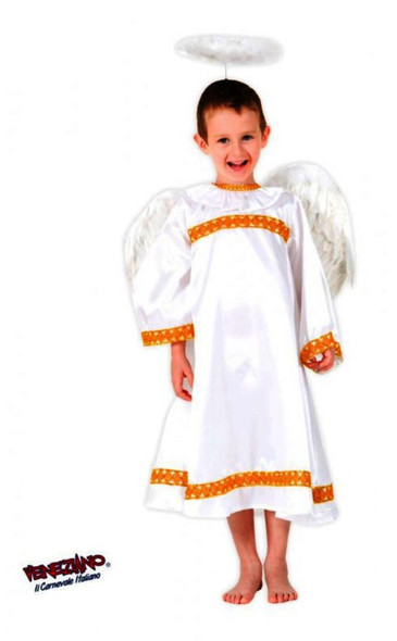 Deluxe White Angel Child Kids Gown Halo & Wings Costume Christmas Manger Size 8
