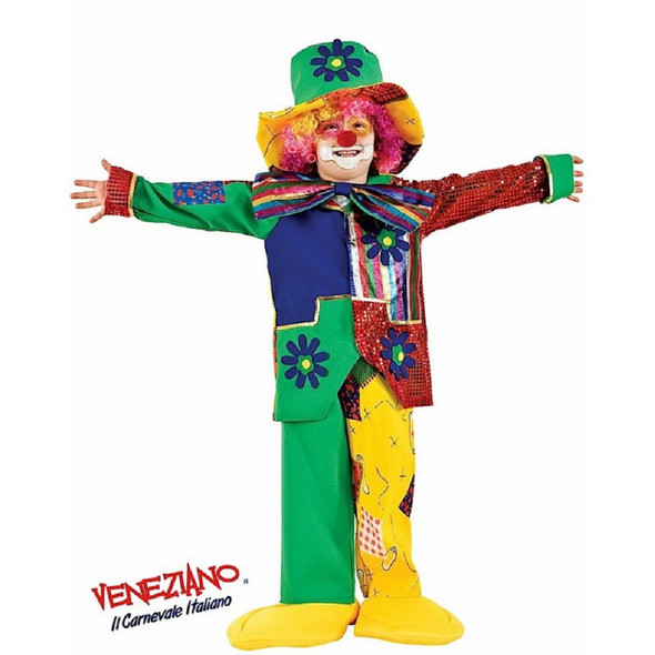 Deluxe Patchwork Clown Complete Costume Funny Colorful Circus Toddler Child SZ 3