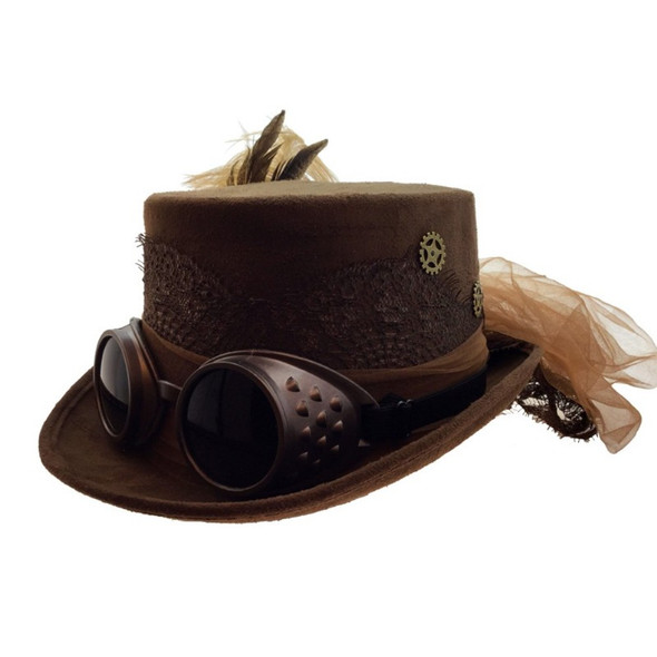 Deluxe Brown Steampunk Top Hat Victorian Adult Feathers & Gears Costume Acces.