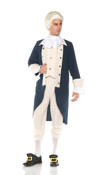 Founding Father Costume Colonial Man Historical Washington Adult Men's Std-XXL