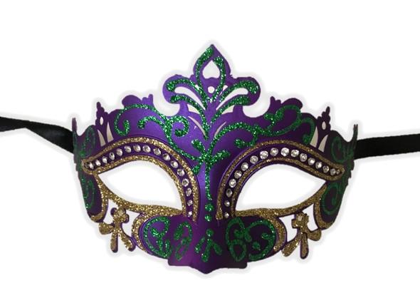Mardi Gras Half Venetian Mask Glitter Laser Cut Masquerade Costume Accessory