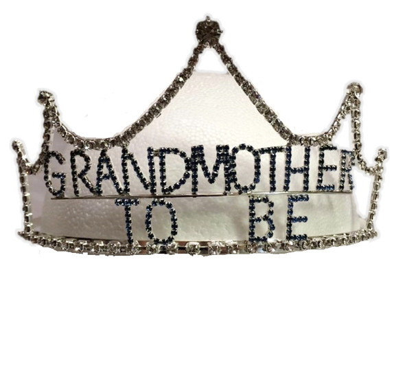 Baby Blue Rhinestone Grandmother To Be Tiara Crown Grandma Surprise Shower Gift