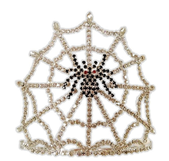 Black Rhinestone Spider Tiara Halloween Costume Spiderweb Accessory Cobweb Crown