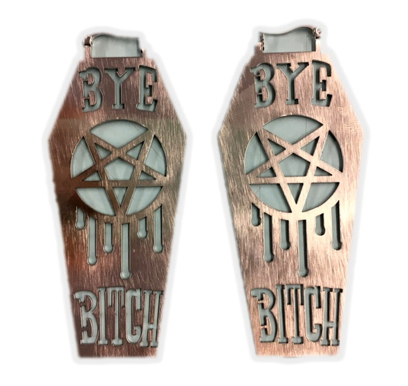 Bye Bitch Coffin Style Metal Earrings Women's Costume Jewelry Silver Metal Gift