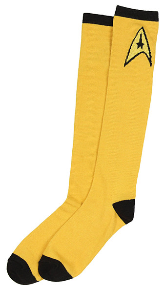 Star Trek Yellow Knee High Socks Captain Kirk Adult Mens Womens One Size 9-11