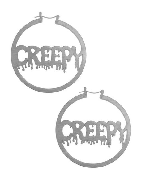 Creepy Metal Hoop Earrings Oversized Women's Costume Jewelry Silver Metal Gift