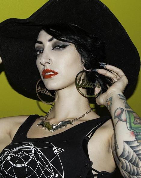 Witch Bitch Metal Hoop Earrings Oversized Women's Costume Jewelry Silver Metal