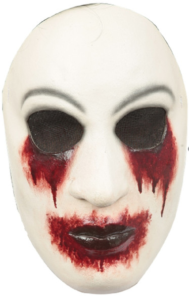 Creepypasta Zalgo Latex Mask Blood Eye Mouth Adult White Red Halloween Accessory