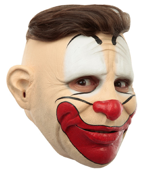Friendly Creepy Clown Open Top Hair Opening Adult Latex Mask Character Funny