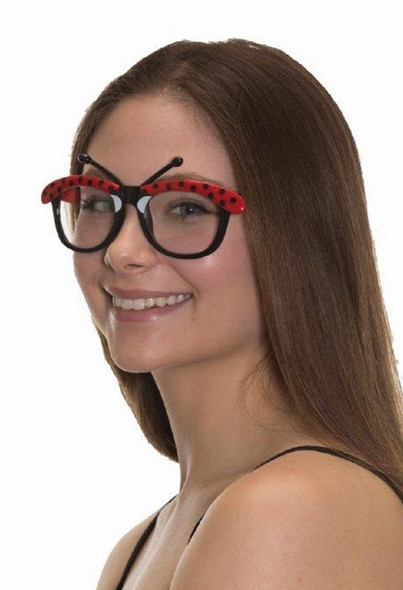 Ladybug Glasses Adult Costume Accessory Black Red Polka Dot Antennae Clear Lense