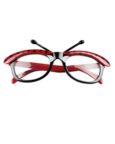 Ladybug Glasses Adult Costume Accessory Black Red Polka Dot Antennae Clear Lense