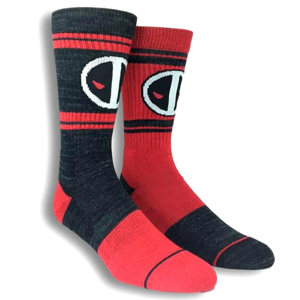 Marvel Comics Deadpool Movie Athletic Reverse Crew Socks Adult Mens Size 10-13