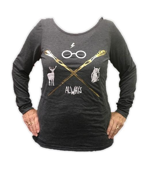 Harry Potter Junior Womens Criss Cross Grey Long Sleeve Shirt Top SM-XL