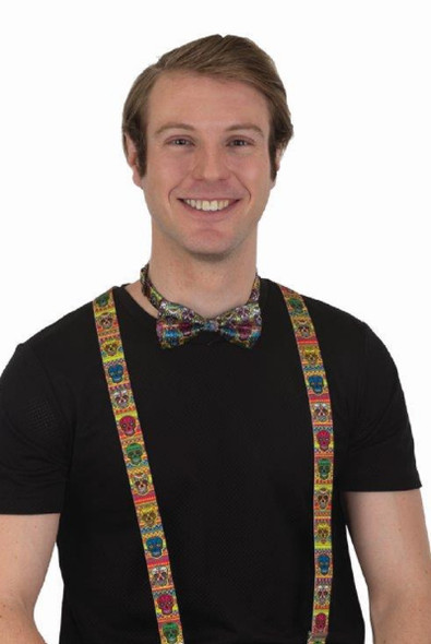 Day Of The Dead Sugar Skulls Suspenders & Bowtie Kit Adult Costume Accessory