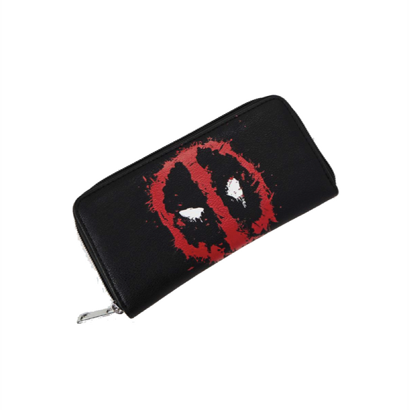 Marvel Deadpool Black Zip Around Wallet w Bloody Logo PU Leather Licensed