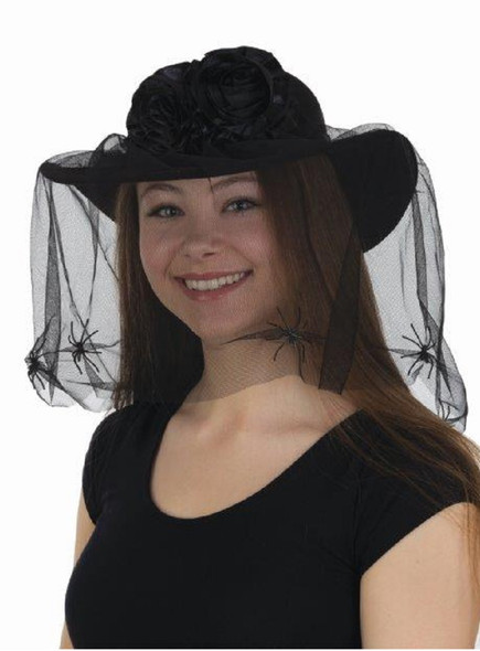 Black Widow Hat With Veil & Spiders Flowers Women's Halloween Costume Accessory