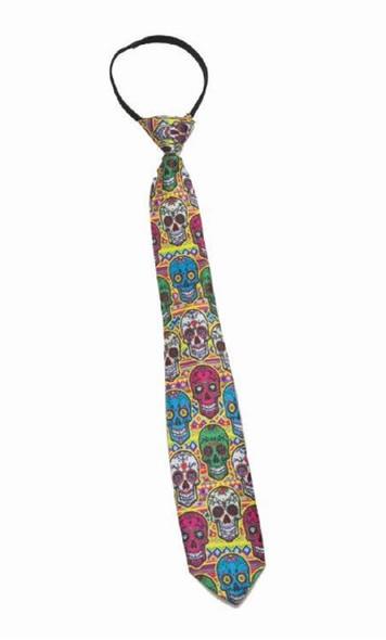 Day Of The Dead Sugar Skulls Neck Tie Necktie Zipper Tie Adult Costume Accessory