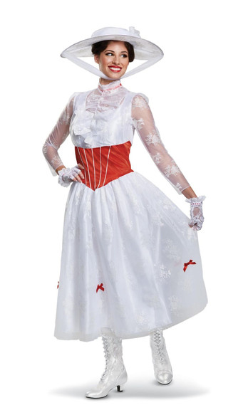 Deluxe Disney Mary Poppins Costume White Fancy Dress Womens Princess SM-XL