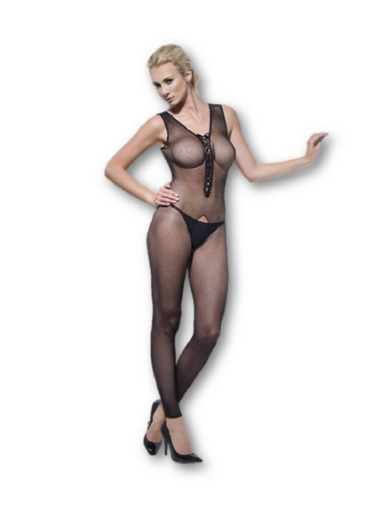 Fever Lingerie Fishnet Body Stocking Crotchless Black Lace Up Front Adult 4-12
