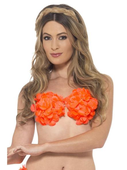 Hawaiian Flowered Orange Bra Bikini Top Luau Adult Women's Beach Party Accessory