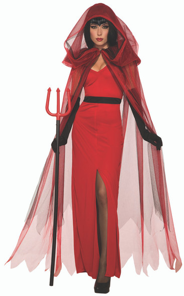 Demons & Devils Crimson Demoness Cape & Dress Adult Womens Halloween Costume STD