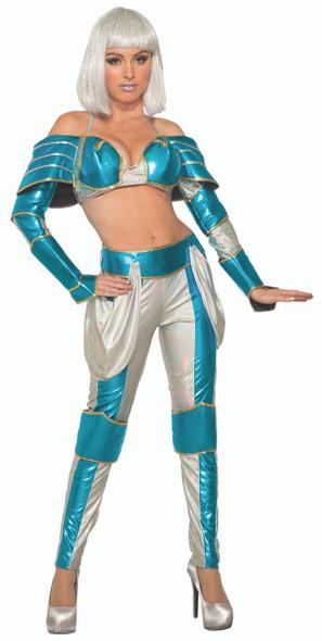Space Warrior Queen Adult Women's Costume Metallic Blue & Silver MD/LG