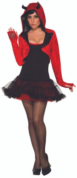 Red Hooded Devil Shrug Cardigan Adult Women's Halloween Costume Accessory STD